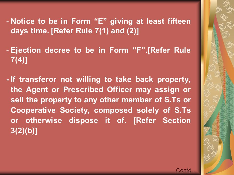 Ejection decree to be in Form F .[Refer Rule 7(4)]